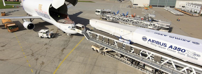 Precisieframe voor het transport van de carbon schaaldelen van een A350 vliegtuigvleugel Foto: © Airbus